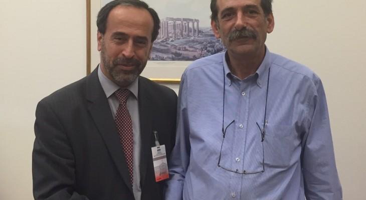 رئيس منتدى التواصل الاوروبي الفلسطيني يدعو الحكومة اليونانية للاعتراف الكامل بدولة فلسطين وبالحقوق الوطنية الفلسطينية