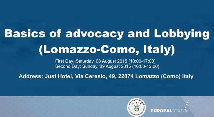 تنظيم دورة  لتأهيل الشباب الفلسطيني في ايطاليا في مجال العلاقات العامة وأساليب الضغط السياسي والعمل التضامني مع فلسطين