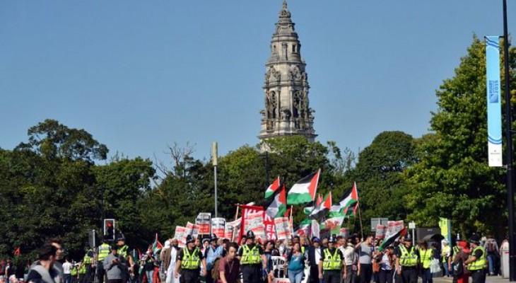 مظاهرة ضد مشاركة إسرائيل بمباراة في ويلز