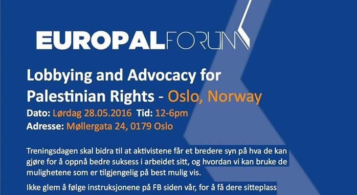 دورة تأهيلية للشباب الفلسطيني والمتضامنين في النرويج في أساسيات اللوبي والعمل السياسي والتضامني