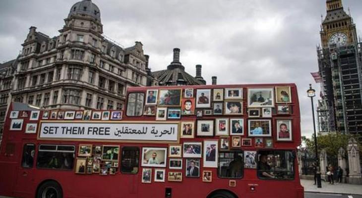 انطلاق حافلة 'الحرية' بلندن للمطالبة بالإفراج عن المعتقلين الفلسطينيين بسورية