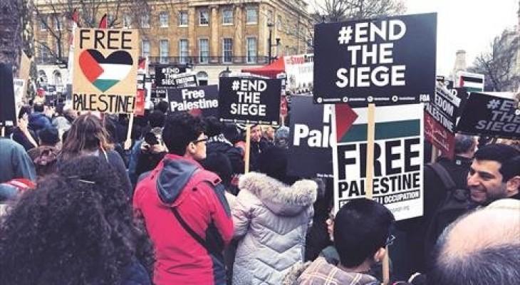 مظاهرات أمام مقر الحكومة البريطانية تضامناً مع الفلسطينيين