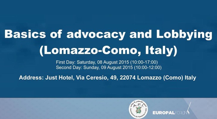 Basics of Advocacy and Lobbying (Lomazzo-Como, Italy)