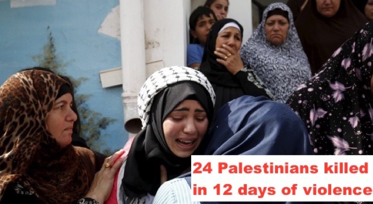 24 Palestinians killed in 12 days of violence