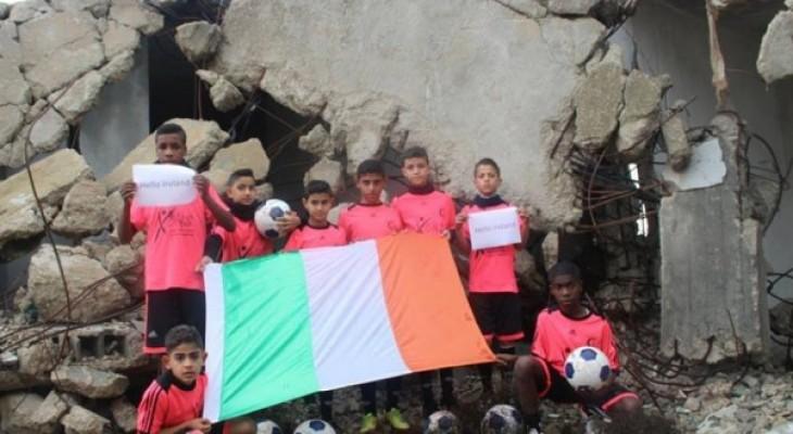 Gaza children play footbal in Ireland