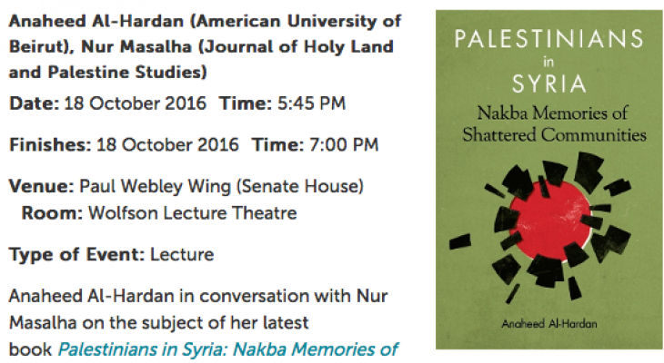LONDON EVENT: Palestinians in Syria: Nakba Memories of Shattered Communities