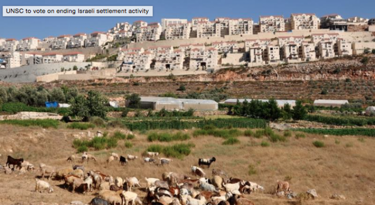UNSC to vote on ending Israeli settlement activity