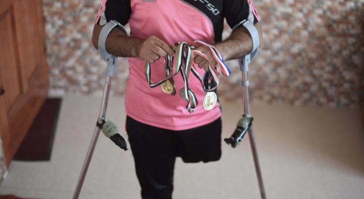 "Israeli bombs crushed footballer's ""first and last option"" By Hamza Abu Eltarabesh"