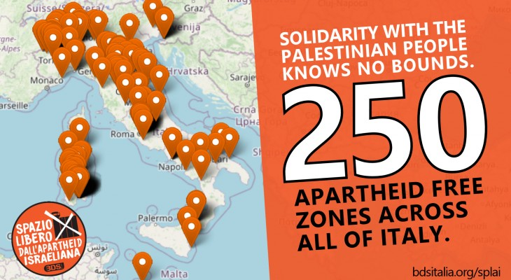 250 Israeli Apartheid Free Zones Throughout Italy. Palestine Solidarity Knows No Bounds.